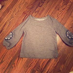 Loft Gray Sweatshirt with Sleeve Detail